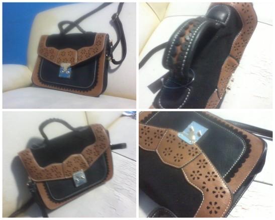 Bolsa tiracolo bicolor preta – Elegance